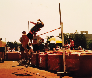 Sondra Ashmore (Biere) High Jumps her way to the Gold medal at the 1988 Summer Iowa Games in Ames. (photo courtesy of Ashmore)